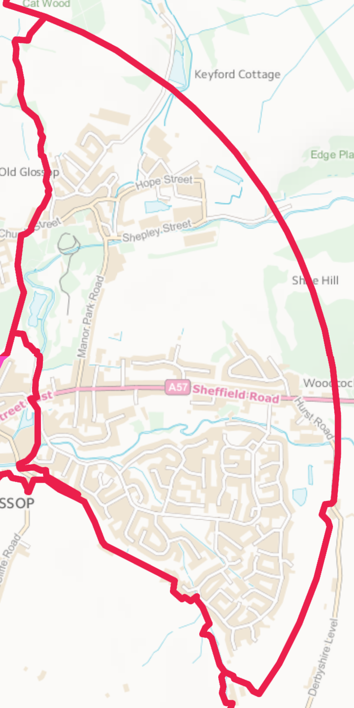 Map of the Old Glossop Ward