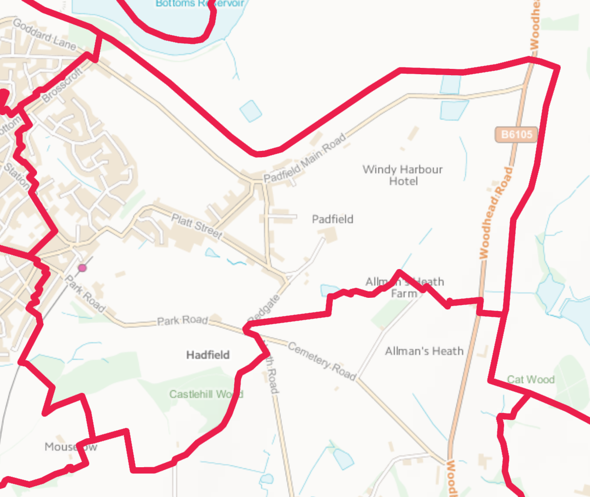 Map of Padfield Ward