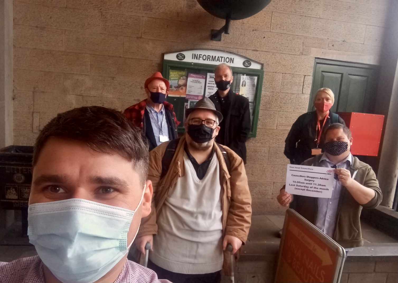 May 2021 Councillors Shoppers Surgery - photo of councillors at there last surgery