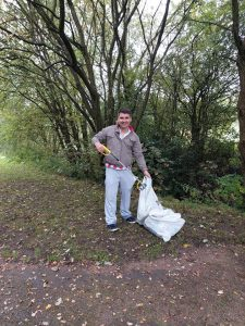 Ollie on a litter pick